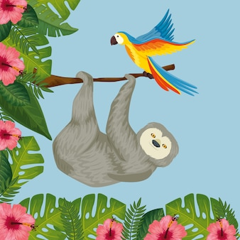 Bear sloth hanging of branch with parrot and flowers