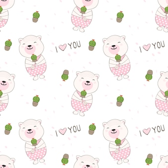 Bear smiling holding a cactus seamless pattern