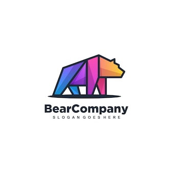 Bear strong multicolored vector template