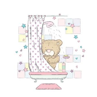 Bear swims in the bathtub.