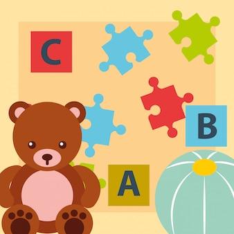 くまテディボールブロックアルファベットとパズルのおもちゃ