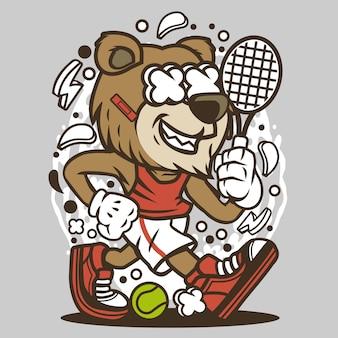 Bear tennis player cartoon