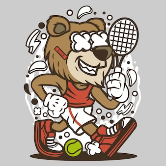 Bear tennis player мультфильм