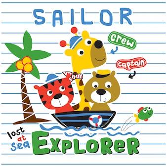 クマ、トラ、キリン、船乗りの面白い動物漫画、イラスト