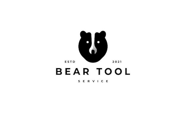 Bear tool service logo symbol   design illustration