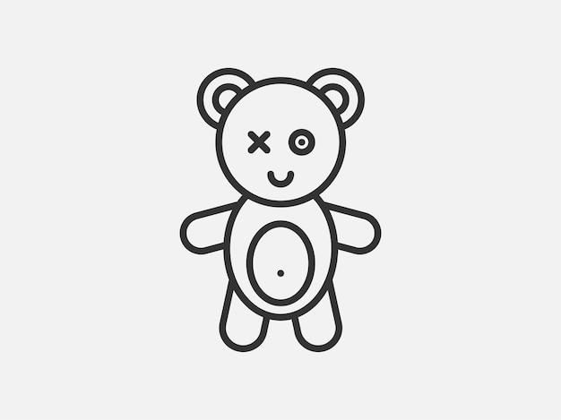 흰색 바탕에 곰 장난감 아이콘입니다. 선 스타일 벡터 일러스트 레이 션.
