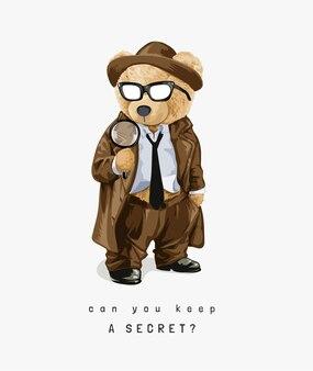 探偵スタイルのクマのおもちゃ