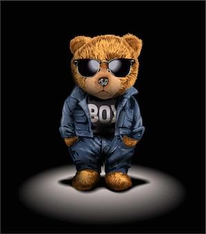 舞台照明のイラストの下でファッションスタイルのクマのおもちゃ