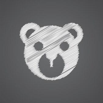 暗い背景で隔離のクマのおもちゃスケッチロゴ落書きアイコン