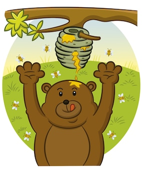 Bear trying to catch honey background