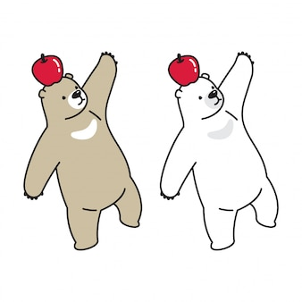 Bear vector polar bear apple cartoon