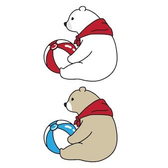 Bear vector polar bear ball scarf cartoon