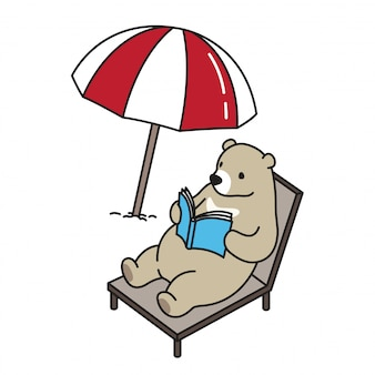Bear vector polar bear beach bed book cartoon