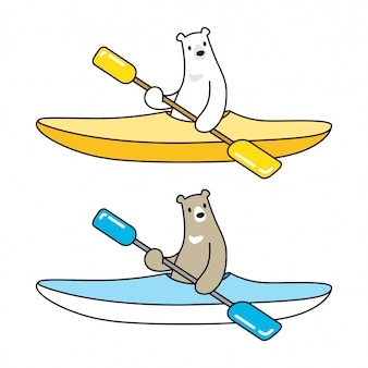 Bear vector polar bear boat kayak icon logo cartoon character illustration