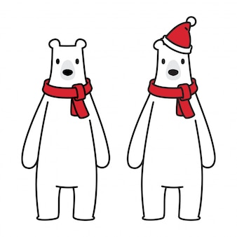 Bear vector polar bear christmas santa claus