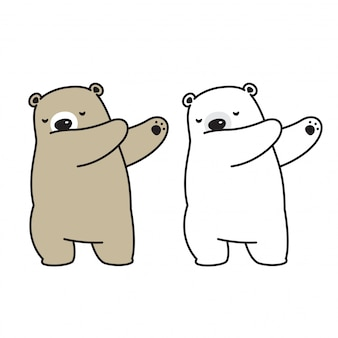 Bear vector polar bear dab dancing cartoon character