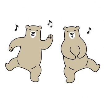 Bear vector polar bear dancing cartoon