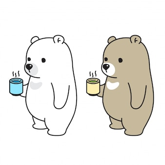 Bear vector polar bear drink tea coffee water