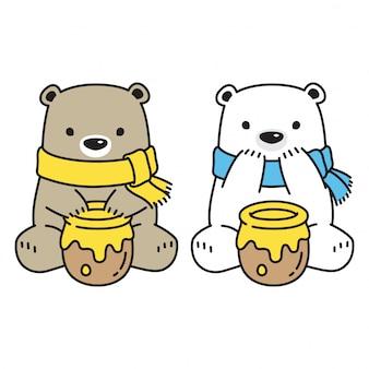 Bear vector polar bear honey cartoon character