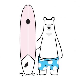 Bear vector polar bear icon beach surfboard