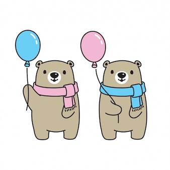Bear vector polar bear icon logo scarf balloon cartoon character illustration