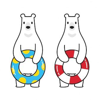 Bear vector polar bear icon logo swimming pool ring cartoon character illustration