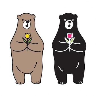 Bear vector polar bear rose flower cartoon