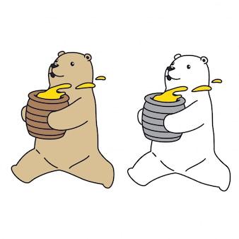 Bear vector polar bear run honey character cartoon