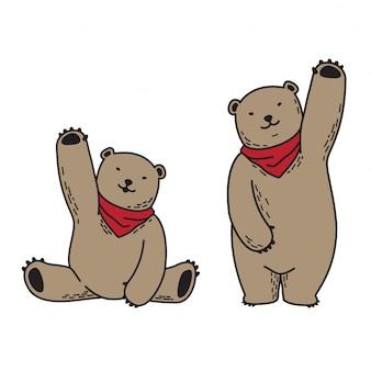 Bear vector polar bear scarf cartoon