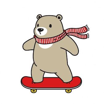 Медведь вектор белый медведь скейтборд мультипликационный персонаж