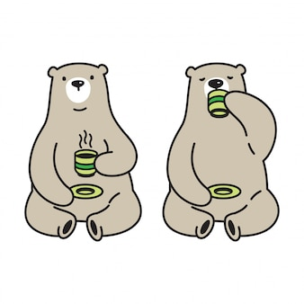Bear vector polar bear tea coffee cartoon illustration