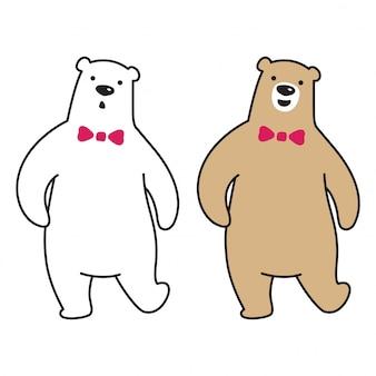 Bear vector polar bear walk cartoon character