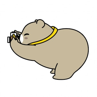 Bear vector polar camera photographer cartoon