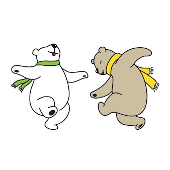 Bear vector polar dancing cartoon