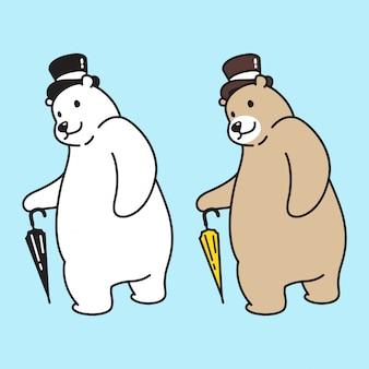 Bear vector polar top hat cartoon