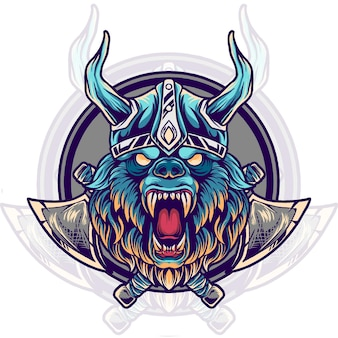 Bear viking head illustration