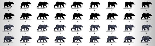 Вектор последовательности анимации цикла ходьбы медведя