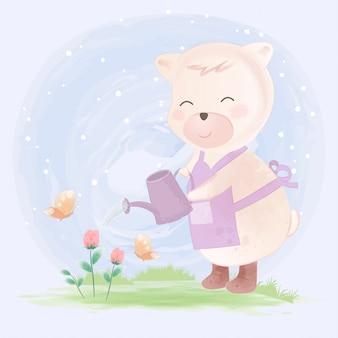 Bear watering the plants hand drawn cartoon illustration