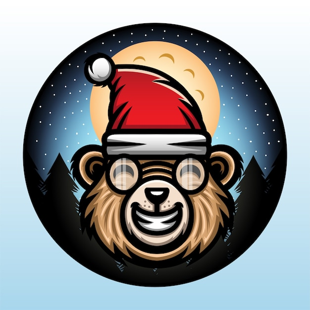 Bear wearing a christmas hat.