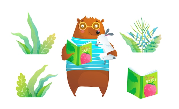 Bear wearing glasses reading fairy tale to rabbit, wild grass and book isolated clipart for kids.