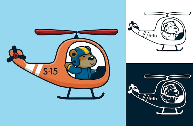 Bear wearing pilot helmet on helicopter. vector cartoon illustration in flat icon style