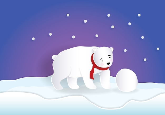 Bear wearing red scarf playing snowball