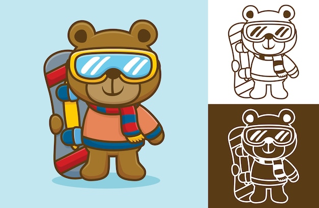 Медведь в теплой одежде и стекле держит сноуборд. карикатура иллюстрации в стиле плоской иконки