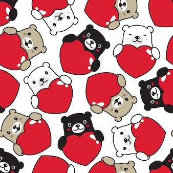 Bear wiht heart seamless pattern