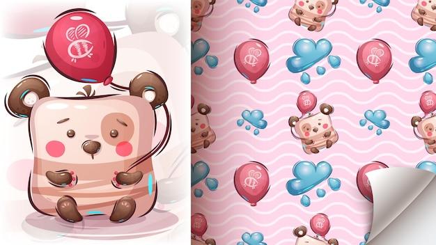気球でクマ-シームレスパターン