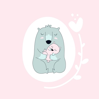 Bear with baby.