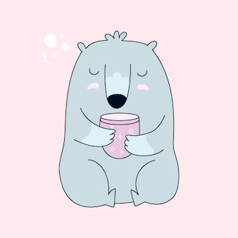 Bear with cup of tea.