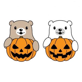 Bear with halloween pumpkin