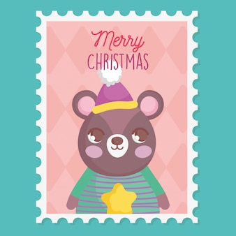 Bear with hat and sweater merry christmas stamp