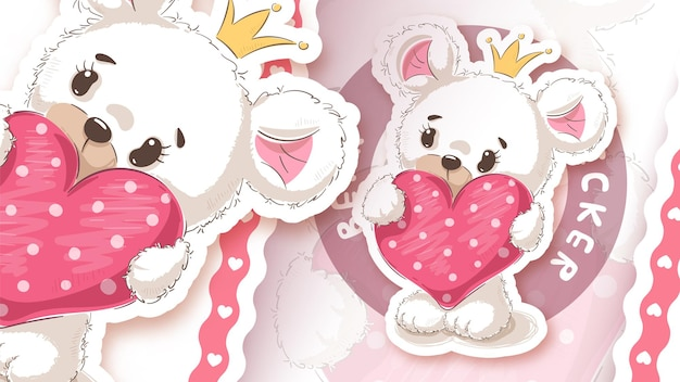 Медведь с сердцем - идея для твоей наклейки